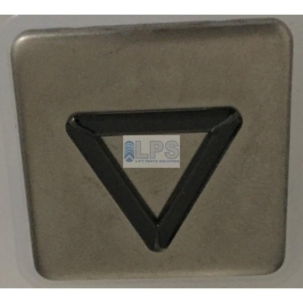 Tête de bouton BL carré inox avec collerette métal gravure : FLECHE DESCENTE
